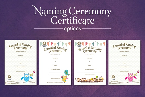Naming ceremony certificate options