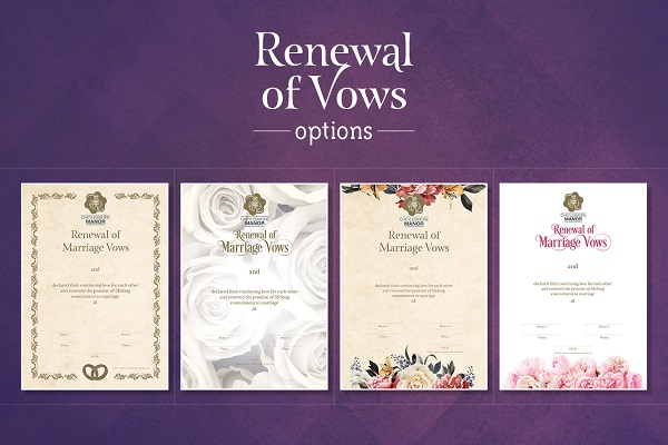 Renewal of vows certificates